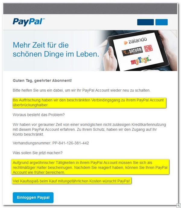 ihr paypal-konto ist eingeschränkt